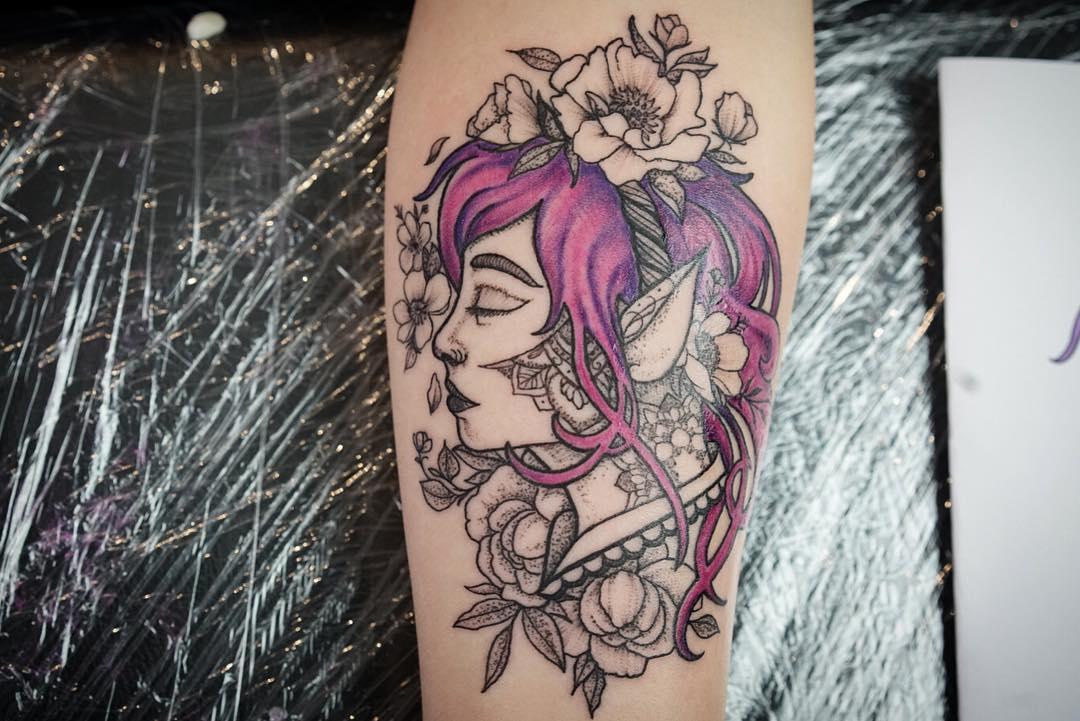 Картинки на тату эльфы на цветах