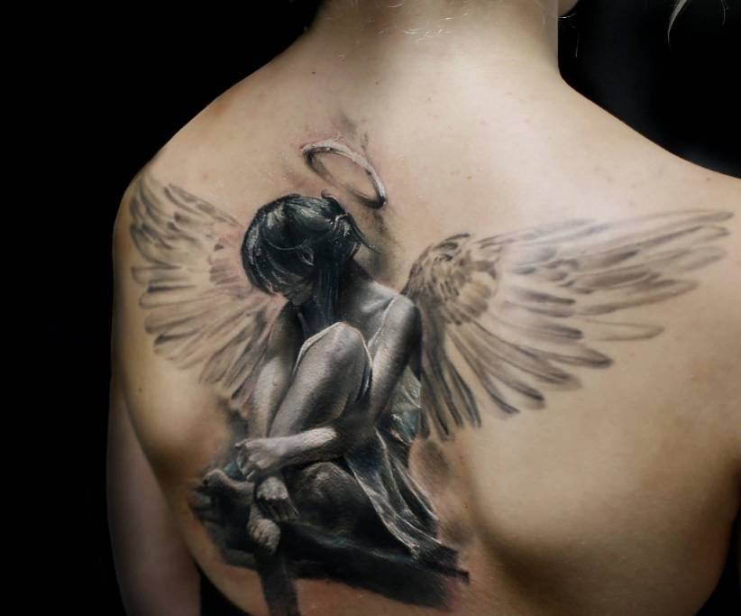Angel tattoos on arm for girls