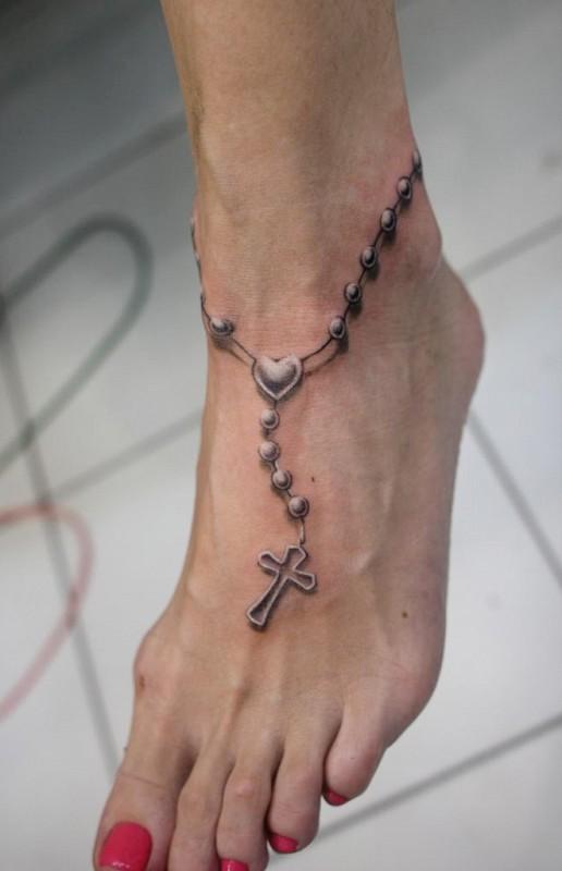 общем фото тату в виде цепочки на ноге ниже единственное фото