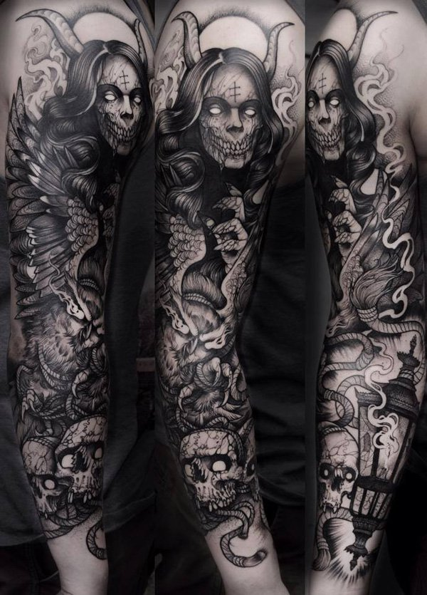 Skull arm tattoo sleeve