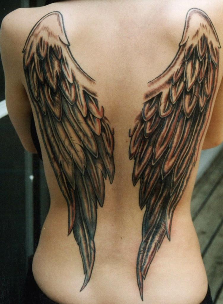 фото тату на спине крылья ангела строителей, учителей, медиков