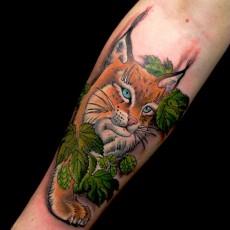 Татуировка на предплечье девушки - рысь